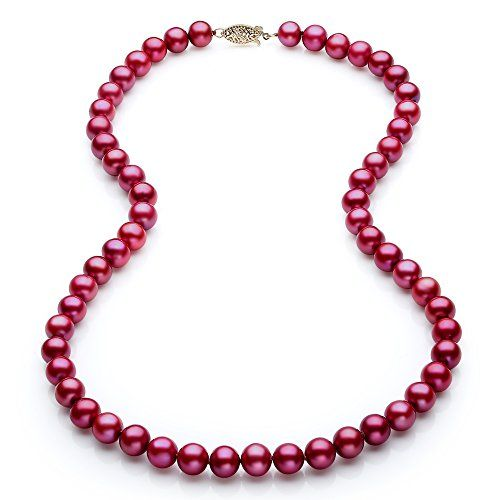 """14K Solid Yellow Gold AAA 7.5 mm Freshwater Red Cranberry Pearl Bracelet  7.5/"""""""