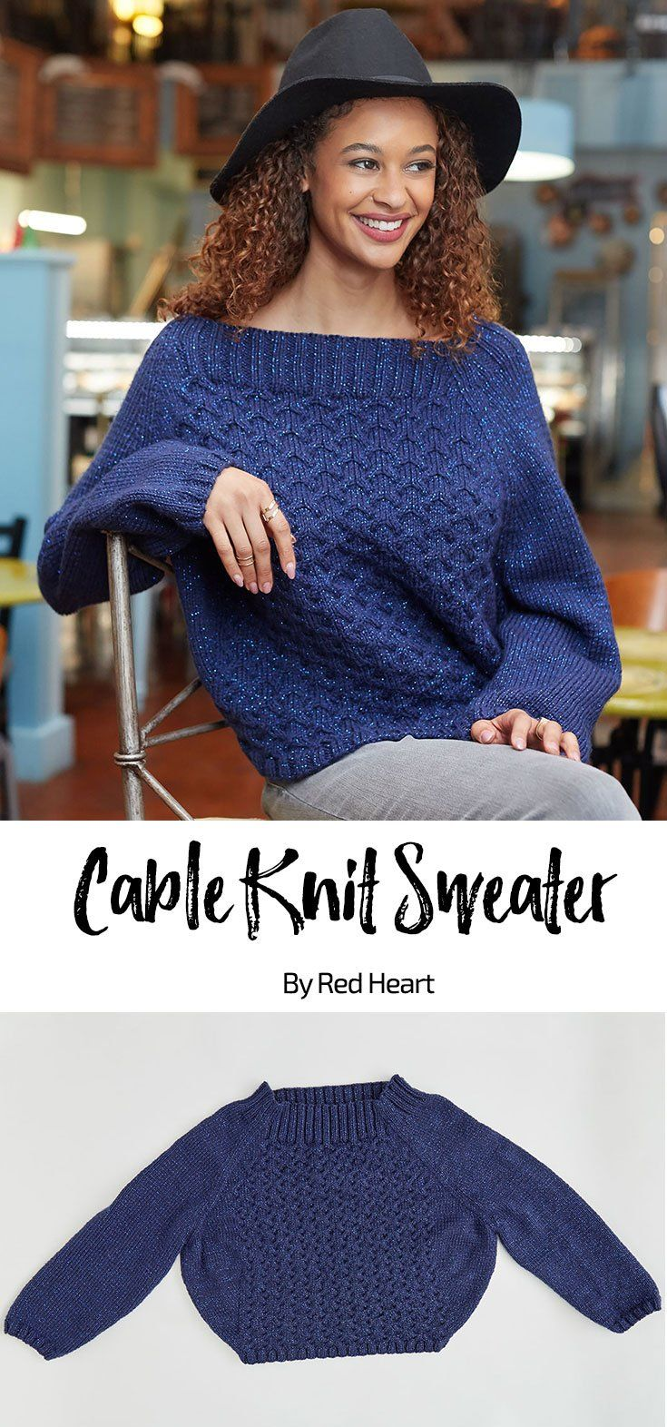 Cable Knit Sweater free knot pattern in With Love Metallic yarn ...