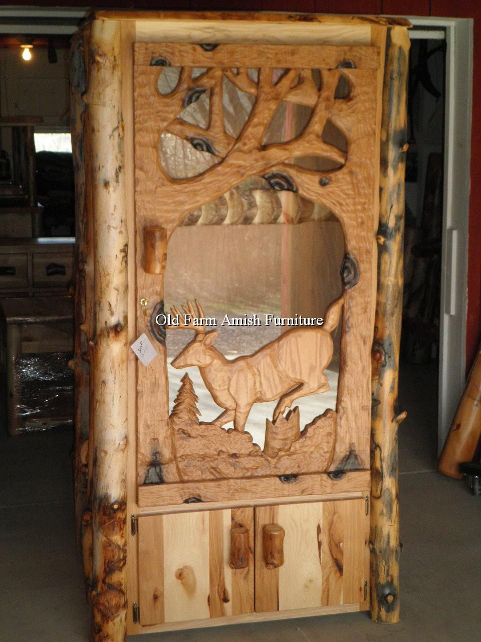 Handcarved Buck Log Gun Cabinet Pa Amish Made Many Styles And Sizes Available Facebook Old