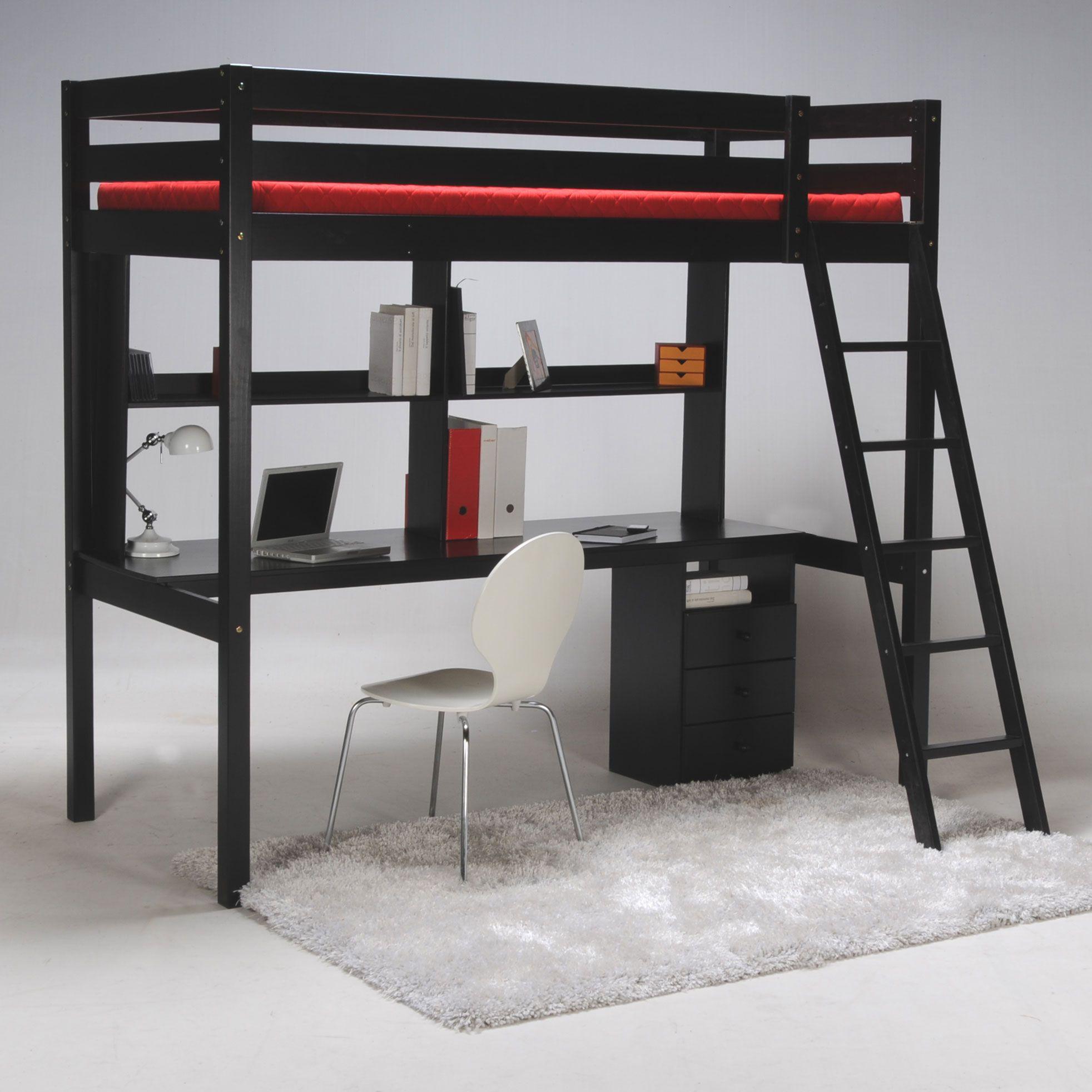 Lit mezzanine sapin 90x190cm sommier bureau et caisson - Lit mezzanine noir avec bureau ...