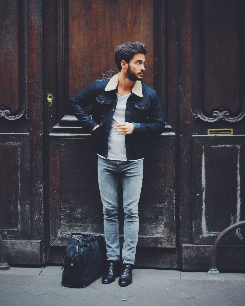 Black t shirt light blue jeans - Dress In A Dark Blue Denim Jacket And Baby Blue Slim Jeans To Create A Great