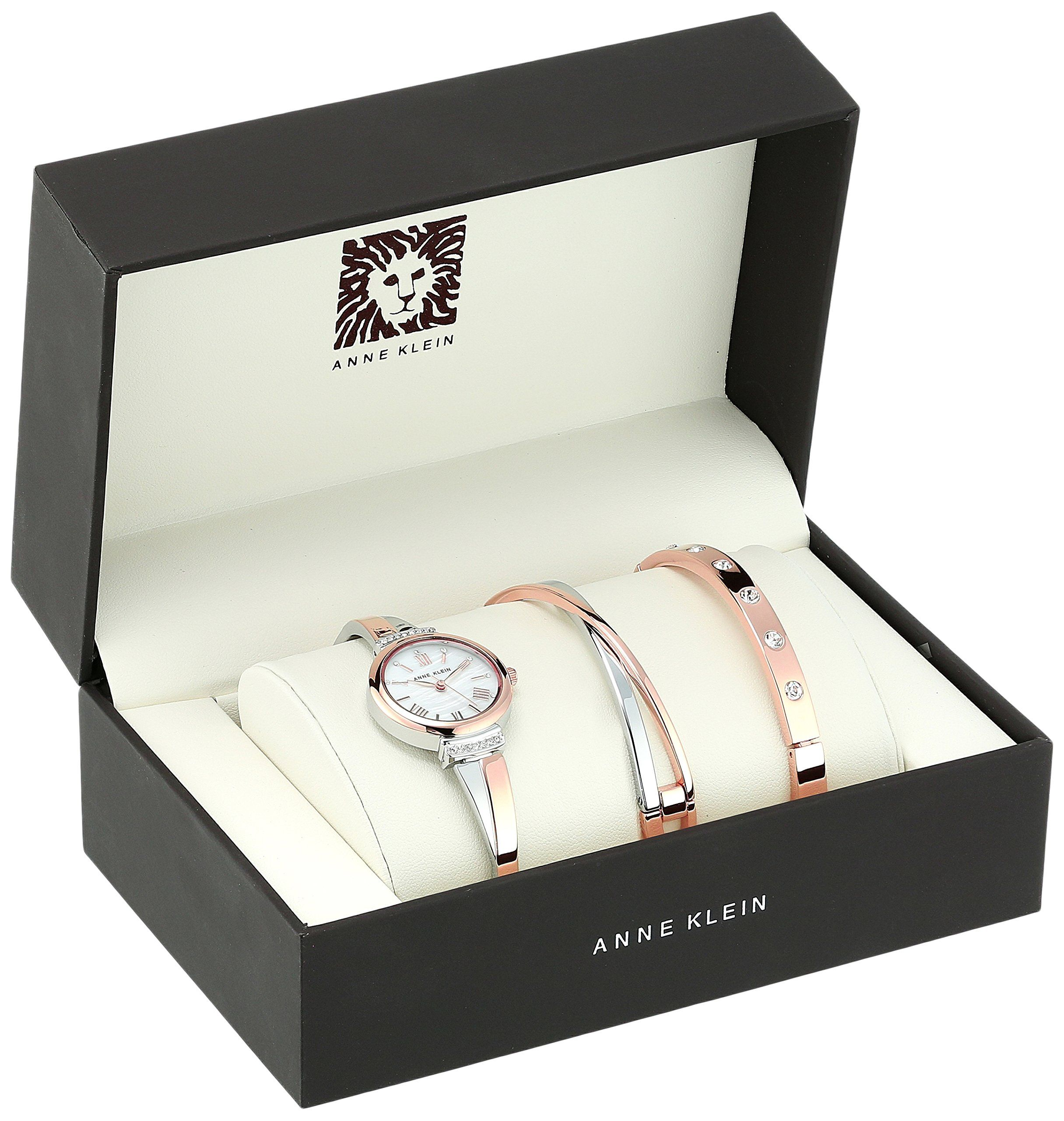 e7ab67584c53b Anne Klein Women s AK 2245RTST Swarovski Crystal Accented Rose Gold-Tone  and Silver-Tone Bangle Watch and Bracelet Set  affiliate  silver
