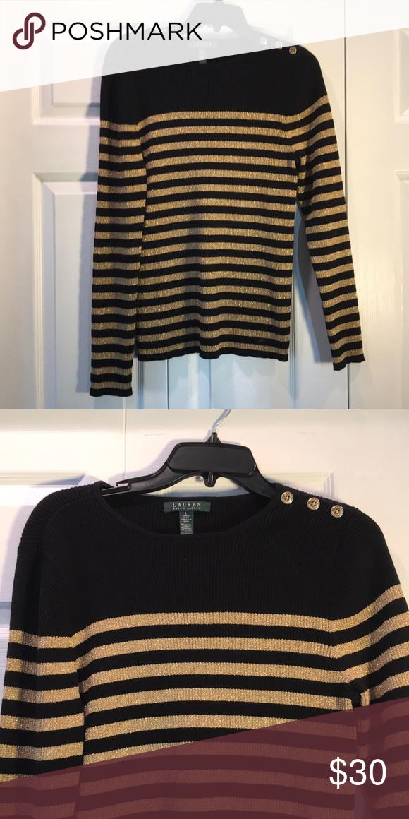 565ffc1df0d5d Lauren Ralph Lauren Striped Sweater Black Metallic Gold Stripes 75% cotton