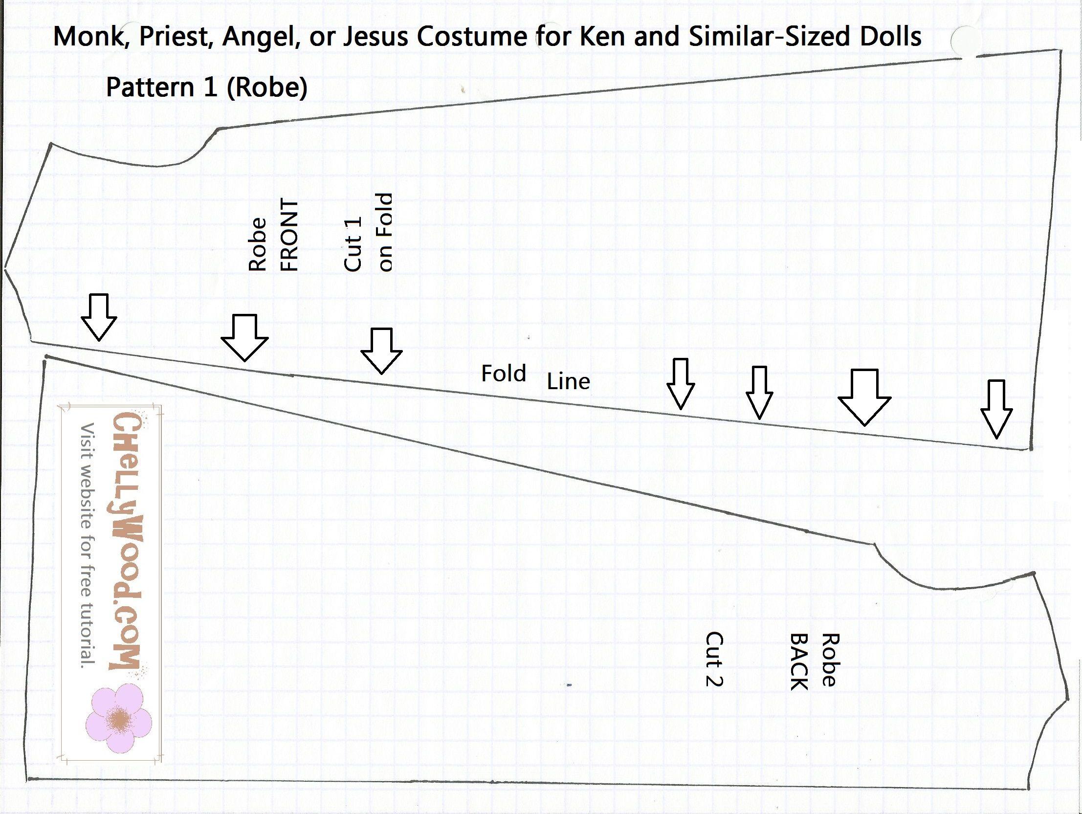 Catholic Priest Costume Doll Pattern Fits Ken Dolls This