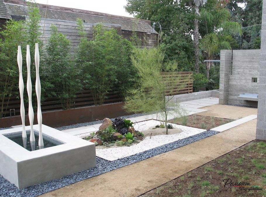 Modern Style Of Stone Garden Design With Concrete Pond And Stylish Vertical  Ornaments Unique Rock Garden