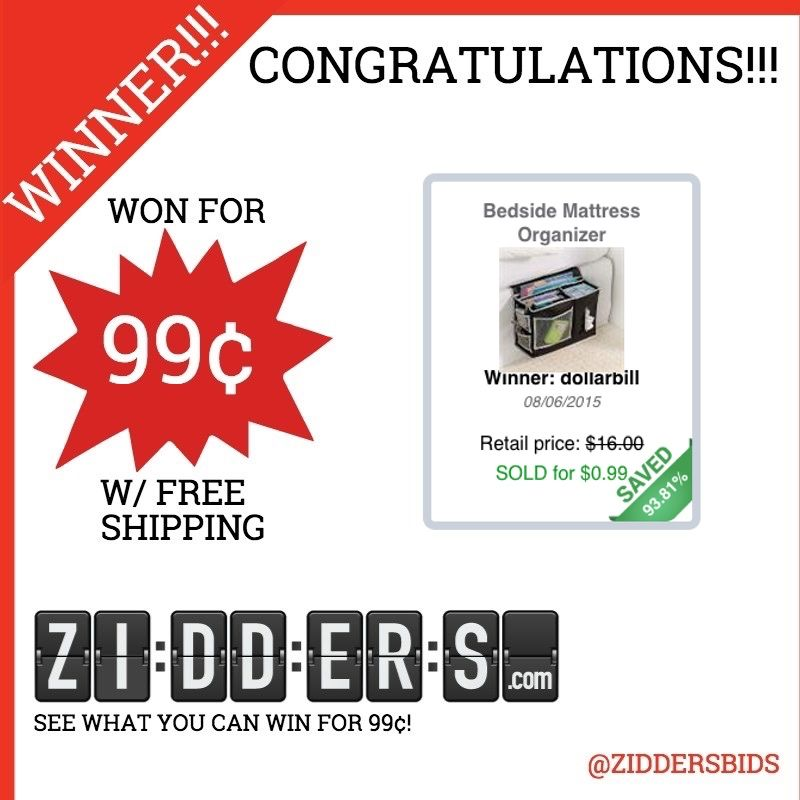 #Congratulations dollarbill for winning this Bedside Mattress Organizer for only 99¢! Want to #win your own? Check out www.zidders.com #zidderswinners  See all of our items for 99¢ w/ #FREE shipping!