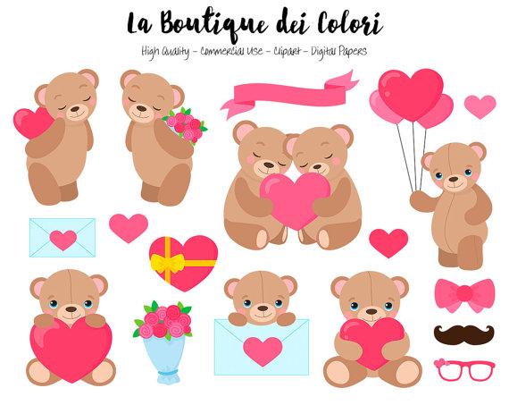 Valentine S Day Teddy Bear Clipart Cute By Laboutiquedeicolori Bear Clip Art Valentines Day Bears Teddy Bear Clipart