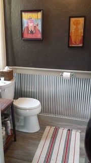 Corrugated Metal Wainscoting In The Laundry Room Home
