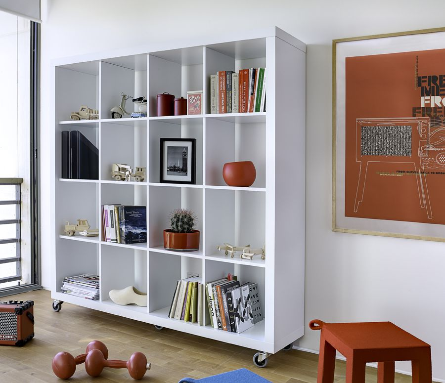 Casters room divider book shelf google search for Modern living room shelving units