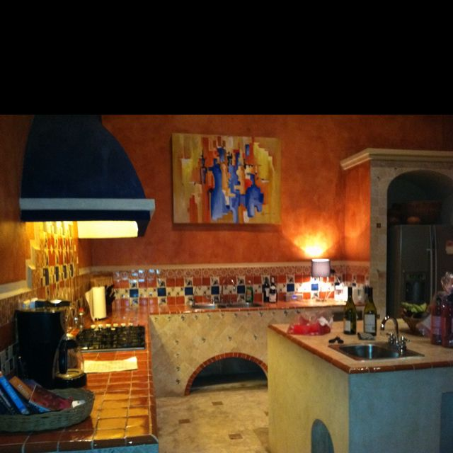 Mexican Kitchen- Love The Wall Color And Tile