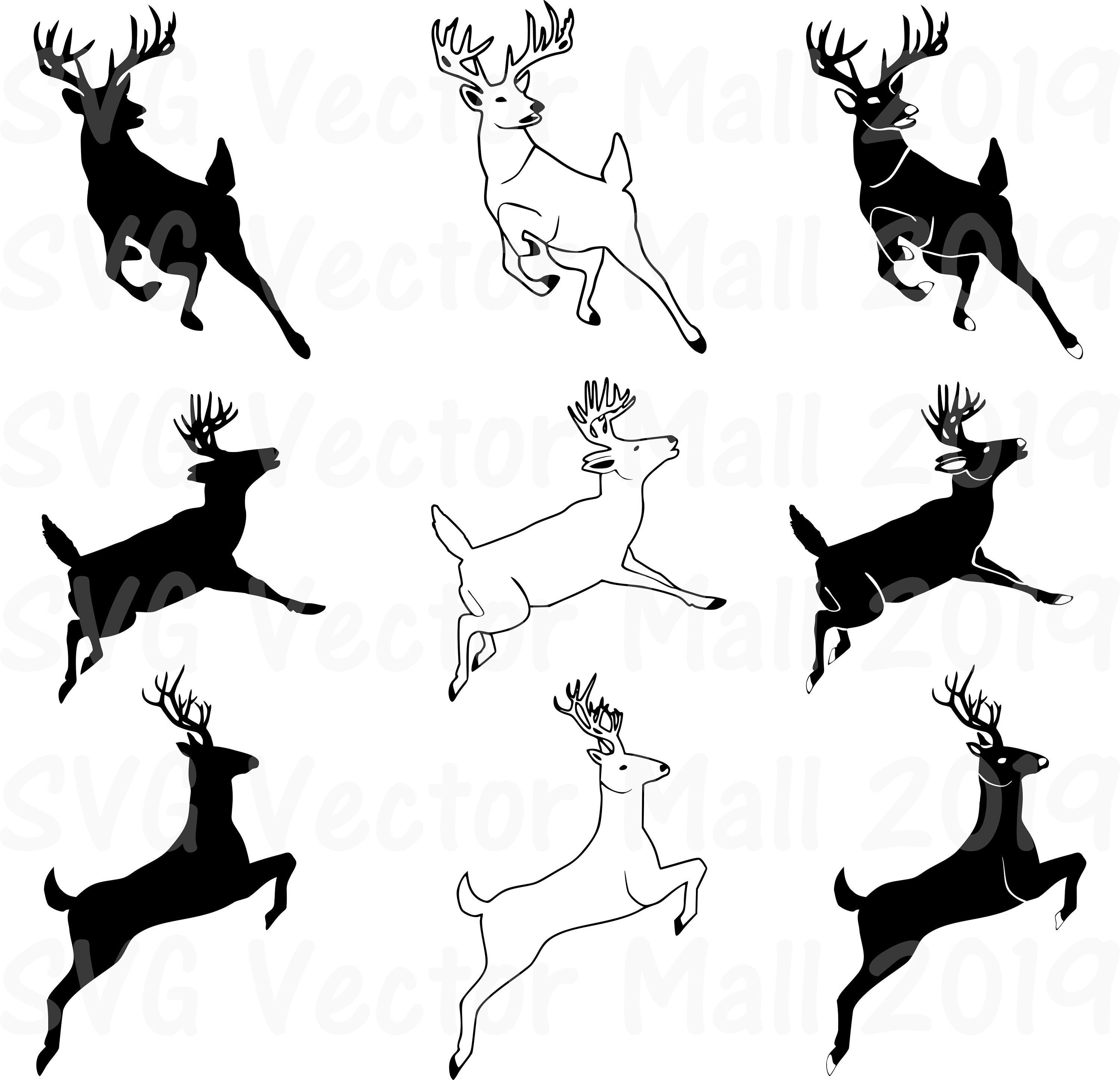 Newly Updated For My Etsy Shop Deer Jumping Leaping Deer Deer Svg Deer Clipart Stag Hunting Cricut Si Deer Jumping Deer Illustration Hunting Drawings