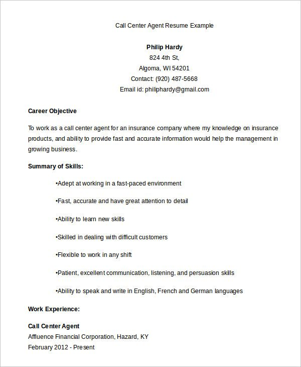 Call Center Resume Templates 10 Free Printable Word Pdf Formats
