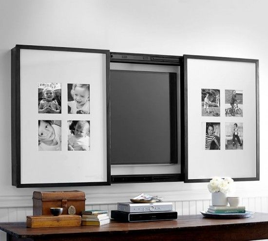 Pictures frames on sliding doors to hide tv screen on the back