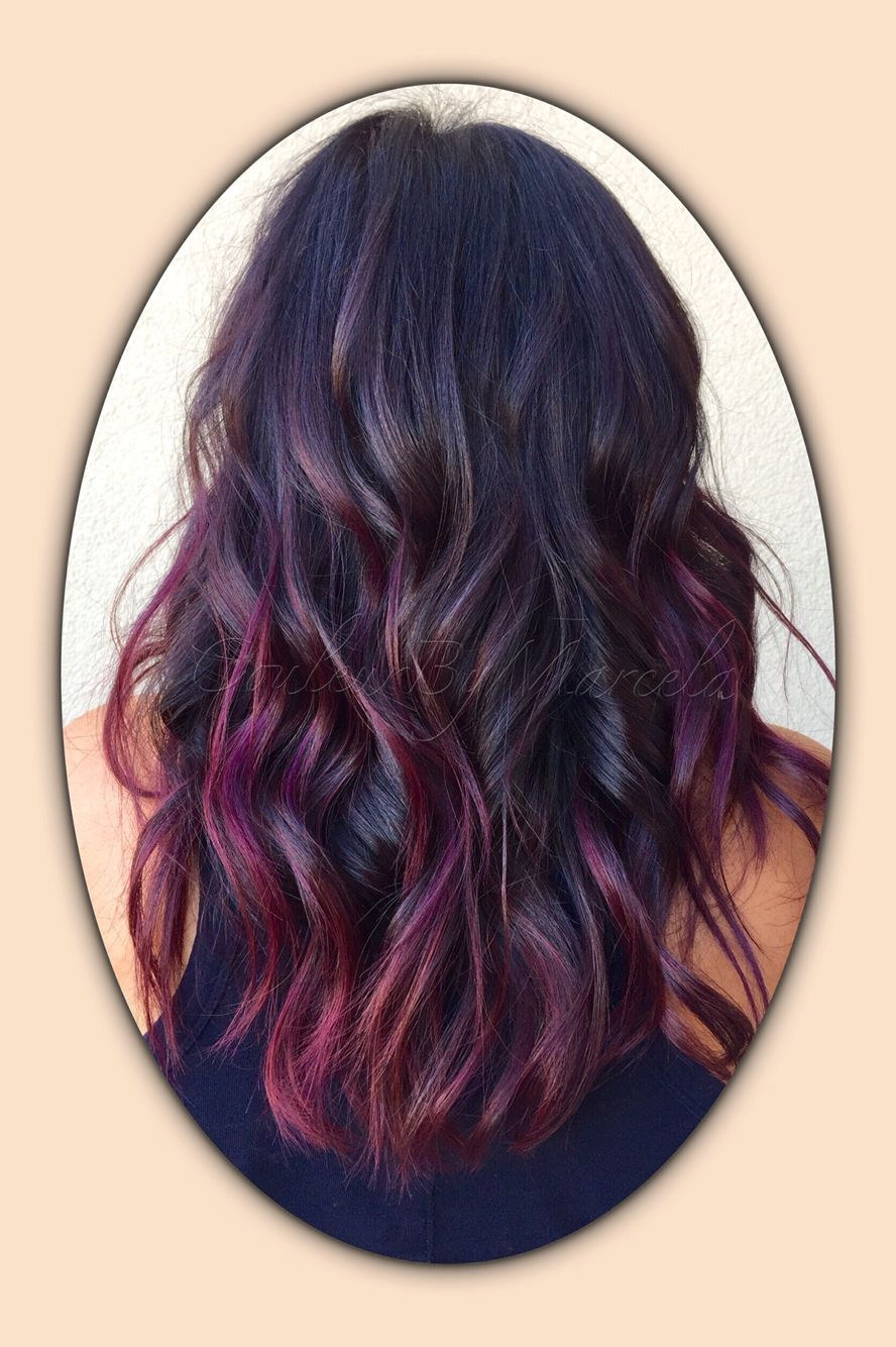 Balayage Painted Hair Fall Colors Red Violet Pelo Pinterest