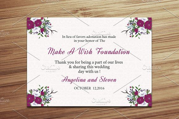 Wedding Favor Donation Card Template by Wedding Templates on - wedding template