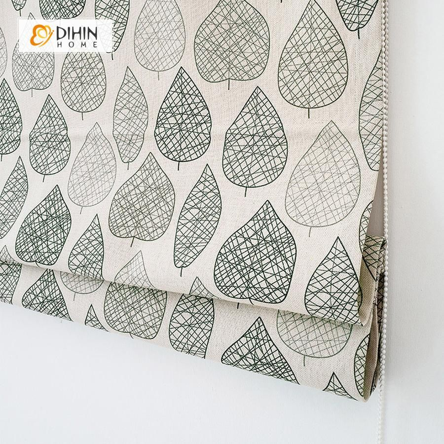 DIHIN HOME Lined Leaves Printed Roman Shades ,Easy Install