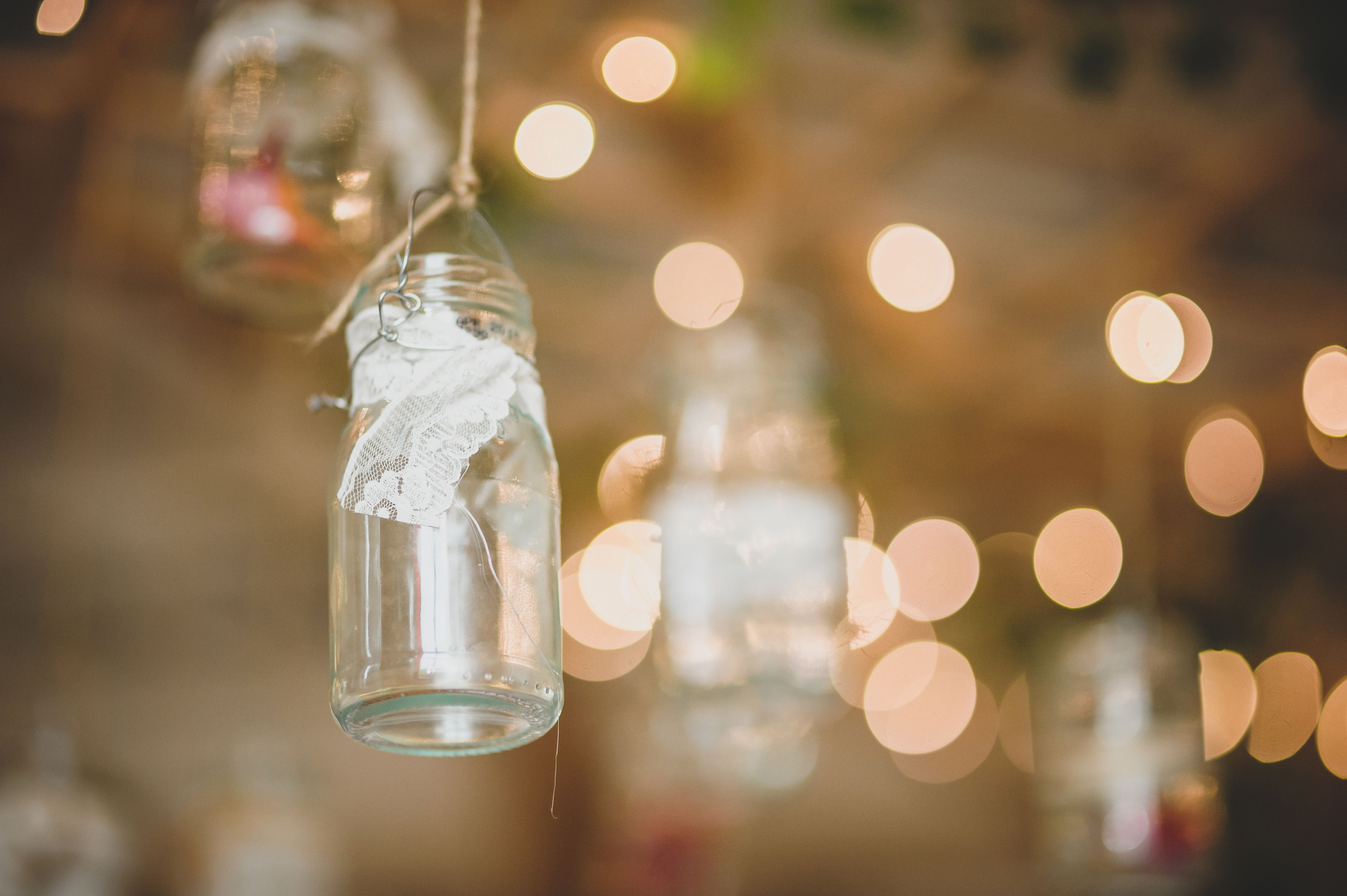 Wedding decorations hanging from trees  Hanging Jar Decorations Country garden wedding  Wedding