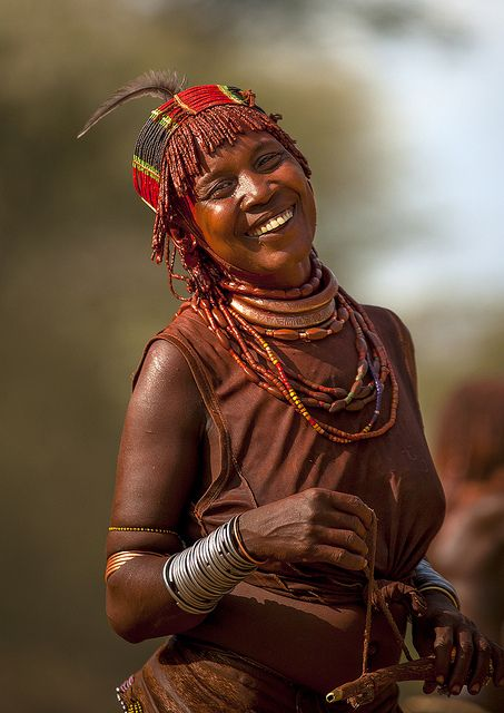 Hamer woman during bull jumping ceremony, Turmi, omo valley, Ethiopia by Eric Lafforgue