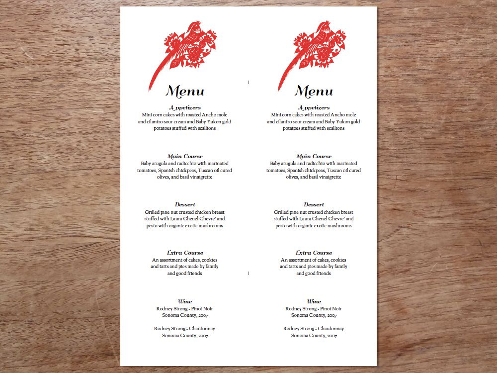 Printable Menu - Gong Xi Wedding menu template, Menu templates - sample menu template