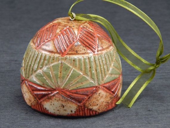Christmas Ornament with white scraffito on Red clay