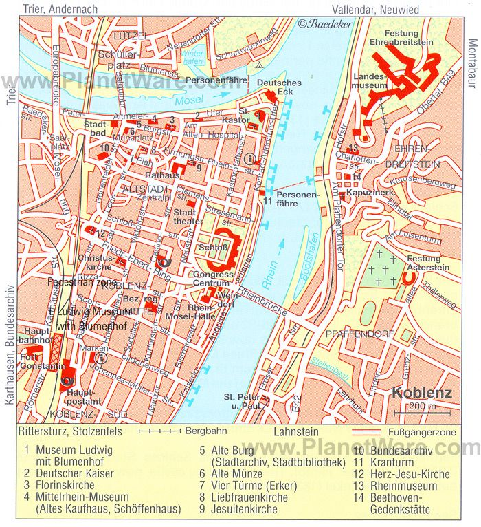 KOBLENZ tourist map httpwwwplanetwarecomtouristattractions