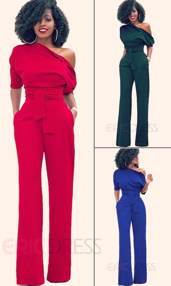 a6bd44a2f88 Ericdress Asymmetric Lace-Up Pocket Jumpsuits Pants