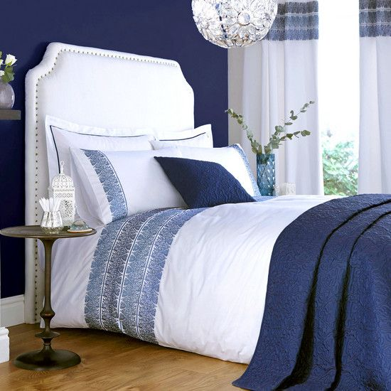Bedroom decor for couples gender neutral bedding indigo for Blue bedroom ideas for couples
