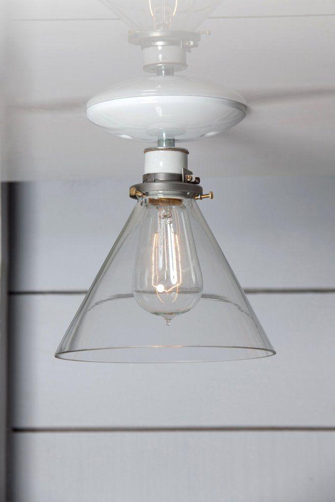 c190ddf49fcd Glass Cone Shade Light - Semi Flush Mount - Industrial Light Electric - 1