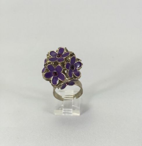 Purple-Enamel-Flower-Ball-With-Rhinestone-Metal-Statement ...