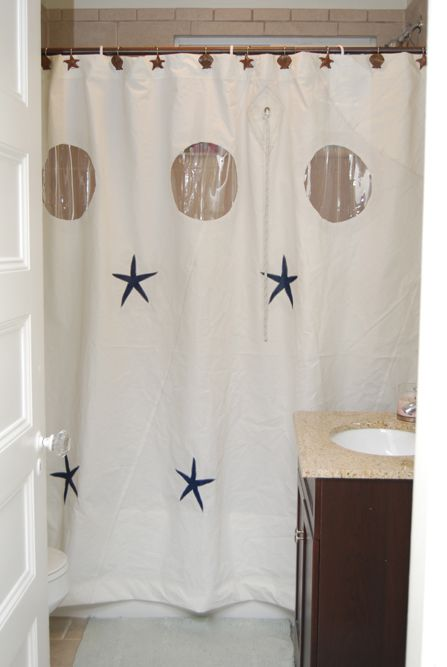 Recycled Sailcloth Shower Curtain With Graphics Coastal Living