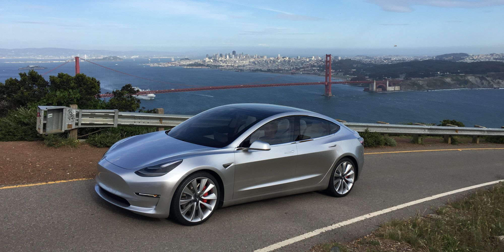 Beautiful pictures of a Tesla Model 3 prototype in Marin Headlands.