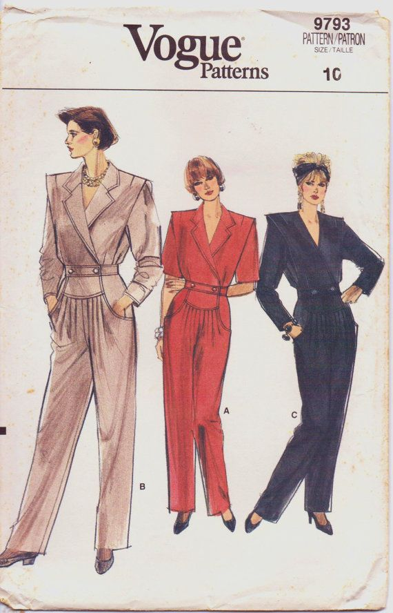 Vintage 1980s Vogue Sewing Pattern 9793 Womens Straight Legged ...