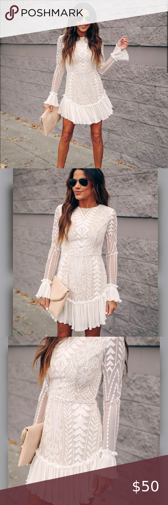 Nwts Vici Collection White Boho Lace Ruffle Dress Lace Ruffle Dress Boho Lace Ruffle Dress [ 1740 x 580 Pixel ]