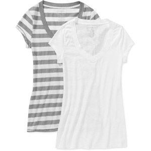 cec44ef9675e No Boundaries Juniors Short Sleeve V Neck T-Shirt 2 Pack.........black and  pink sizzle set in medium 3