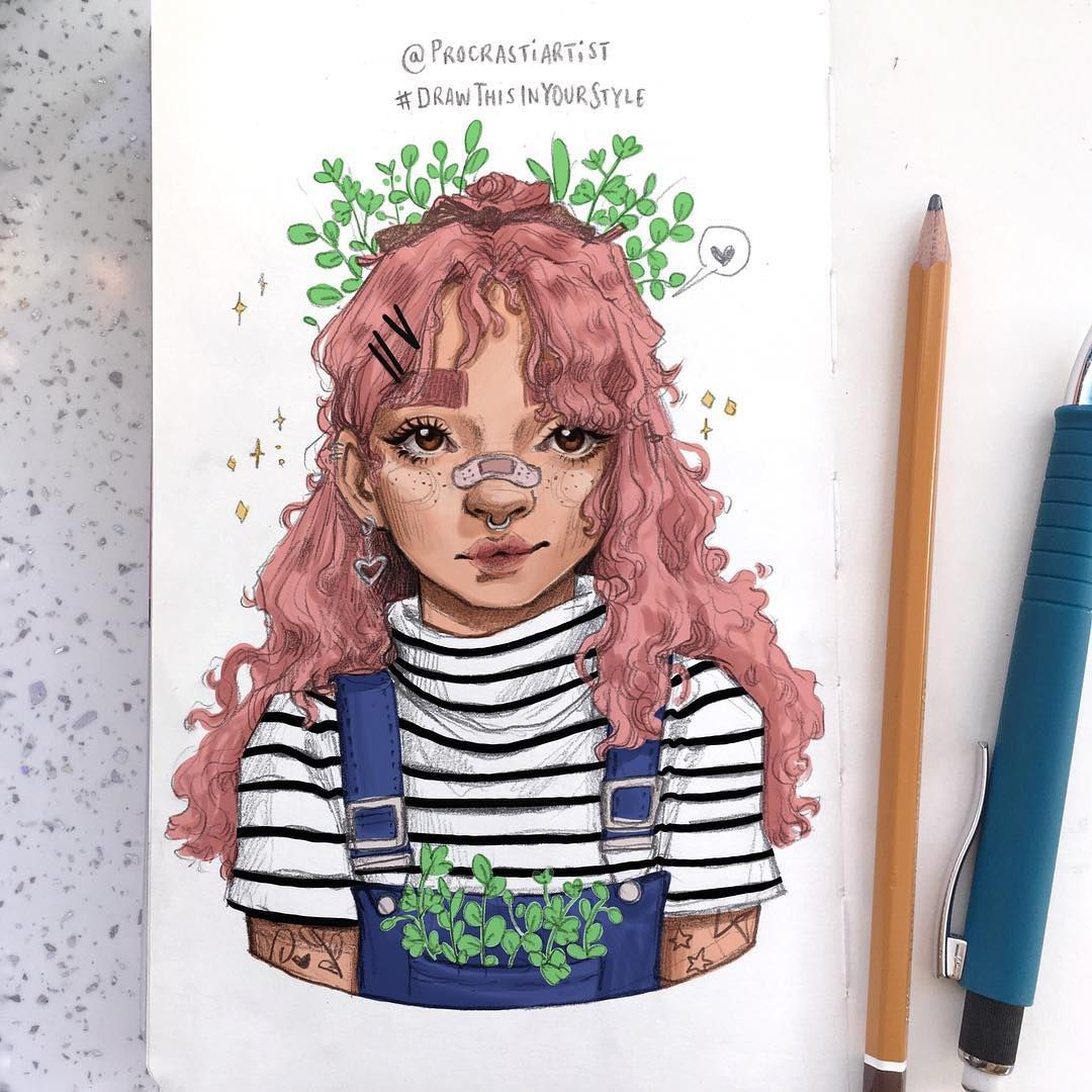 "Filipa Santos on Instagram: ""My entry for @procrastiartist #drawthisinyourstyle !! Did the drawing in my sketchbook first (swipe for the drawing) and then coloured it…"""