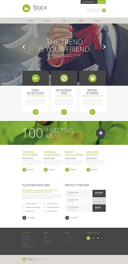 Stock Market Analysis Website Template Themes Business