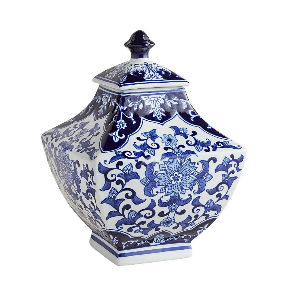 Blue White Small Square Ginger Jar Ginger Jars Blue And White White Ceramic Vases