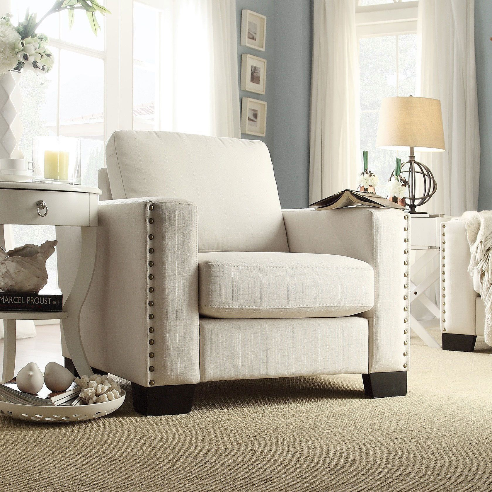 Torrington Linen Nailhead Track Arm Accent Chair by iNSPIRE Q Classic by  iNSPIRE Q