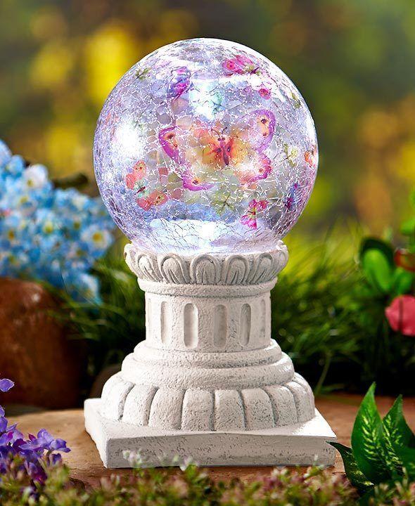 Gazing Ball Glass Globe Orb W/ Stand Solar Lawn Yard Garden Decor 3 Choices