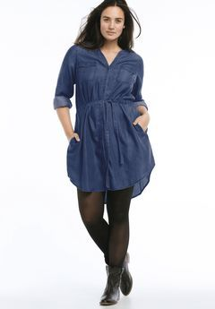 afd3a3373b8 Belted Button Front Tencel Shirtdress by ellos®