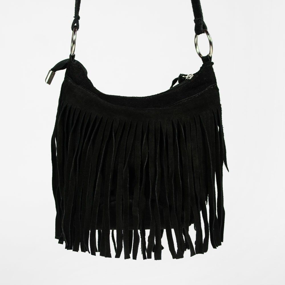 59b476f481 Petit sac en daim noir à franges | Sacs / Bags