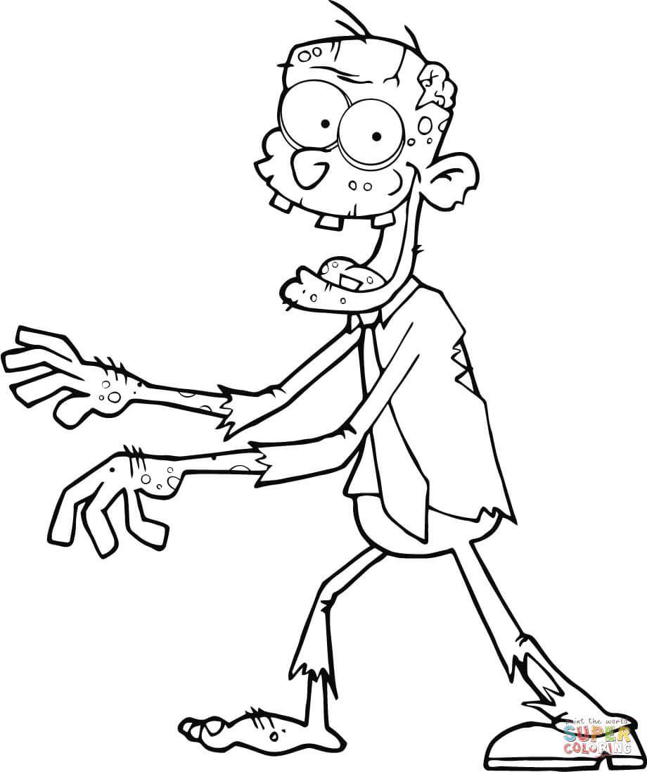 Zombie läuft mit ausgestreckten Armen  Super Coloring