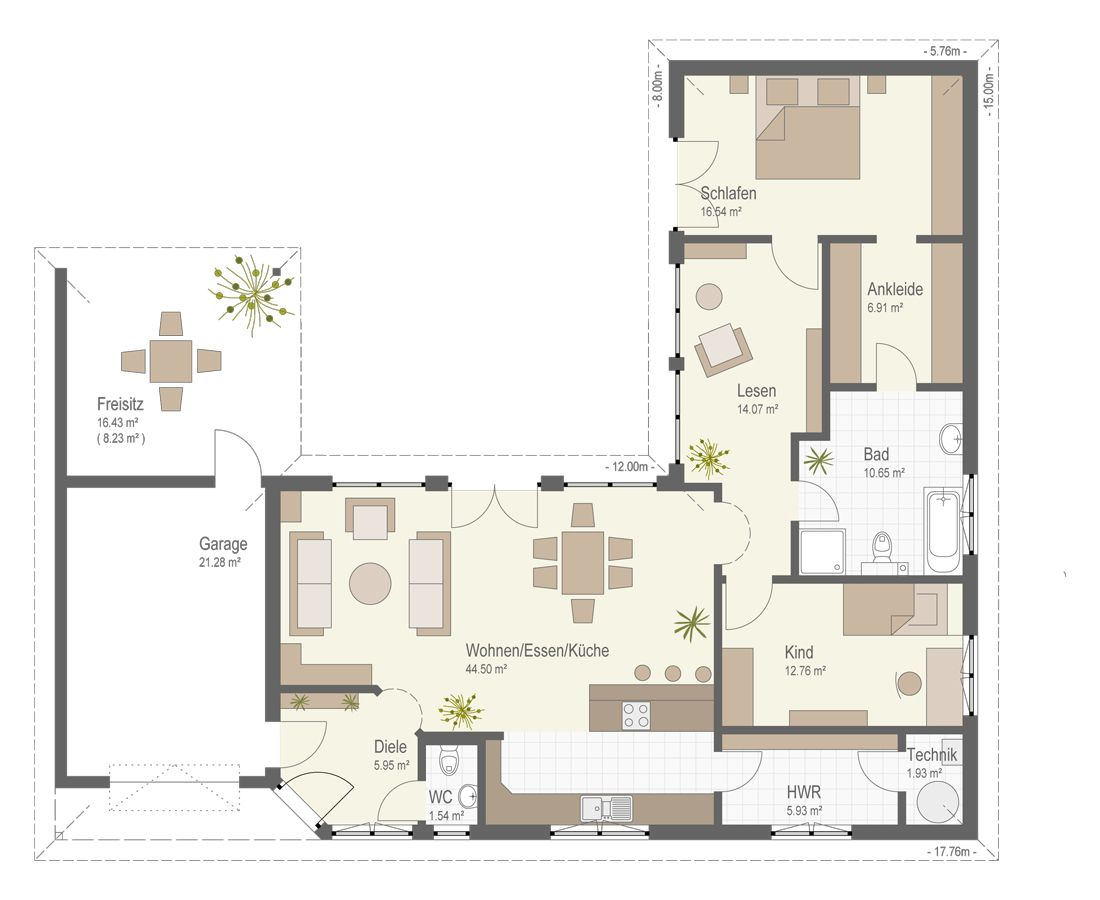 Musterhaus bungalow grundriss  Bungalow 159 - Fertighaus Keitel | Plans for individual Houses ...