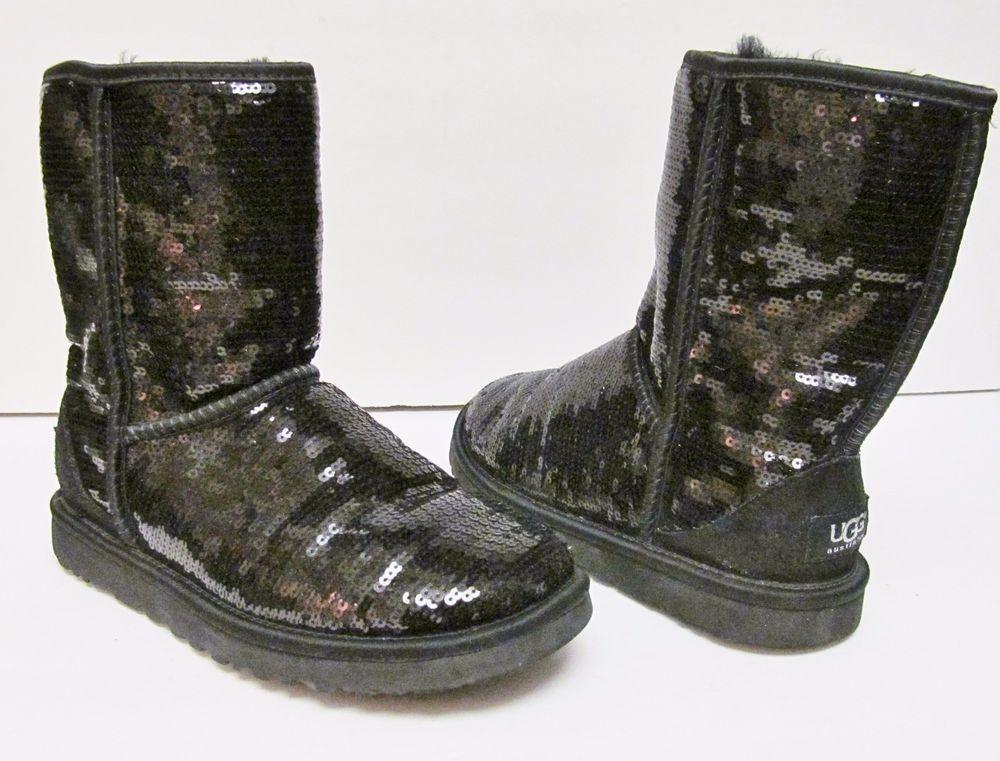 c7c955770b1 UGG Women's Black Sheepskin Sequin Sparkle Boots Shoes 3161 Eva Size ...