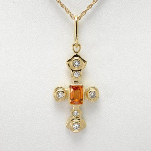 Donna Pizarro Designs 14kt Mandarin Garnet And Diamond Cross Necklace wzgD2cQFoC