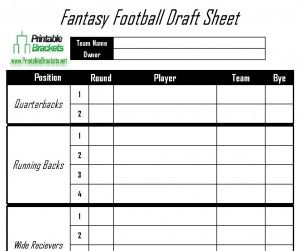 Fantasy Football Draft Sheet Roster
