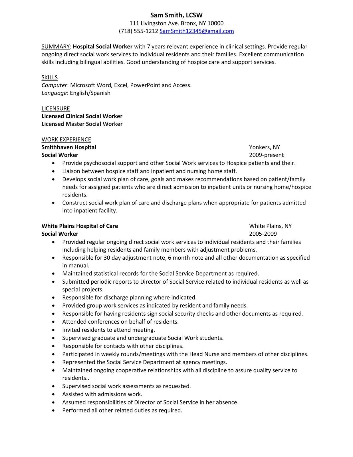 Sample Social Work Resume Examples Resume summary