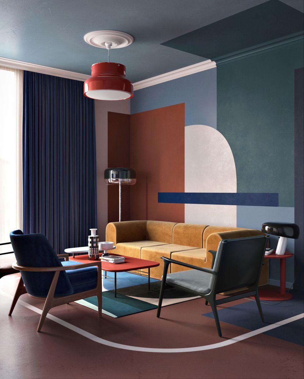 Intérieur contemporain, déco : séjour, murs peints, peinture ...