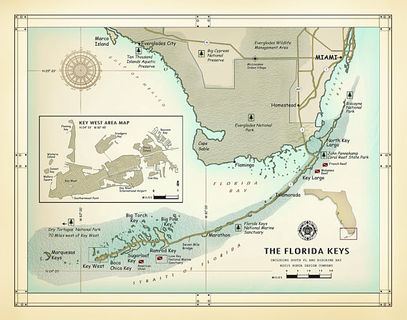 The Florida Keys And South Florida 11 X 14 Vintage Inspired