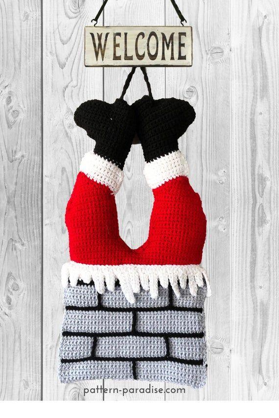 Photo of Crochet Pattern Santa Door or Wall Hanging, Christmas Decoration, Christmas Wreath